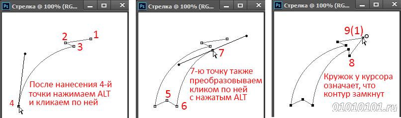 Как сделать стрелку с точками
