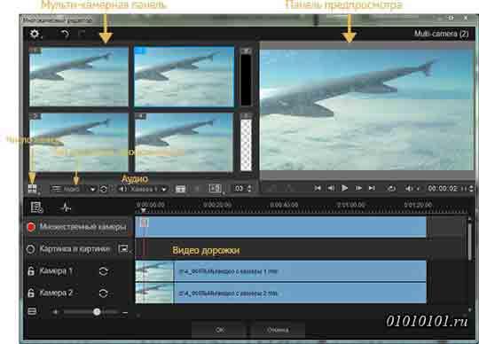 Рабочее пространство редактора Multi-Camera