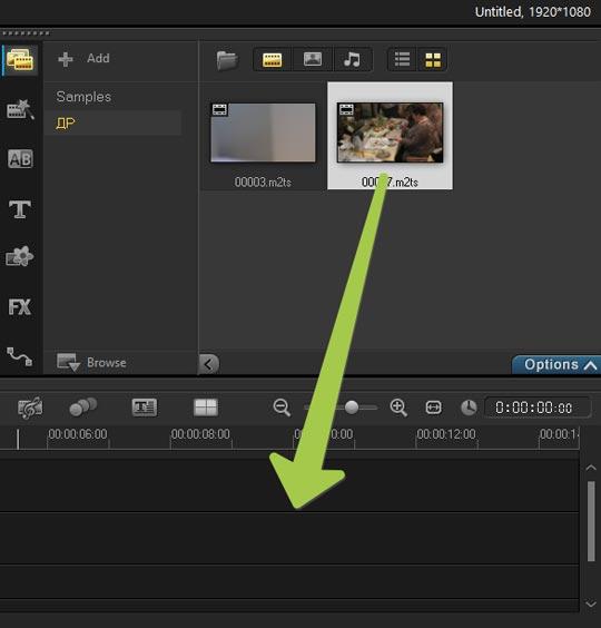 Corel VideoStudio X9 добавление клипов и фото