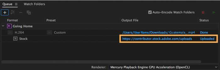 Размещение видео в Adobe Stock непосредственно через Adobe Premiere Pro CC