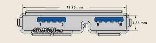 Распиновка розетки USB 3.0 Micro AB