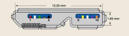 Распиновка розетки USB 3.0 Micro B в цвете