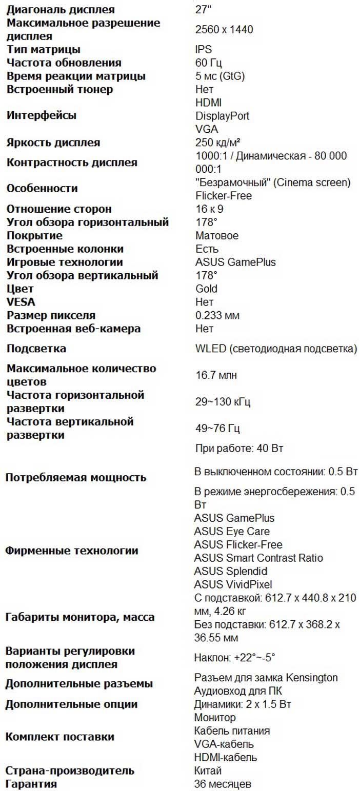 Характеристики VZ27AQ