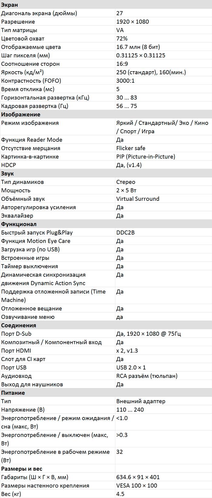 LG 27TK600V WZ 27 характеристики
